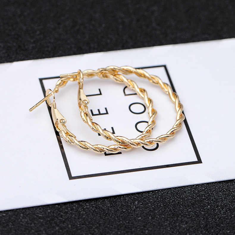 2019 الذهبي أقراط الأذن مربط للنساء موضة كبيرة الجوف دائرة أقراط أقراط هدية