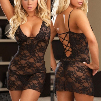 Womens Sex Lingerie Lace Hollow Out Underwear Deep V-Neck Backless Nightwear Baby dolls Sleepwear Dresses Erotic