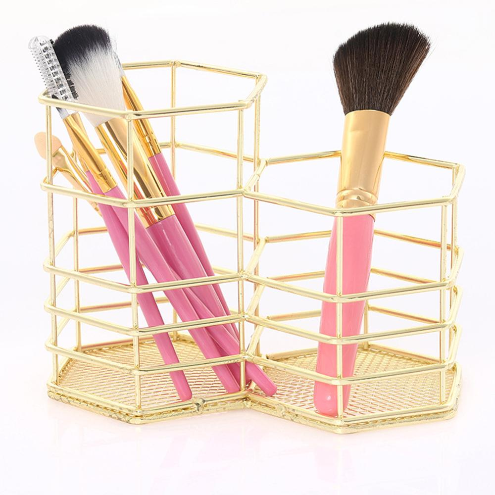 New Rose Gold Hollow Pen Holder Storage Container Table Organizer  3