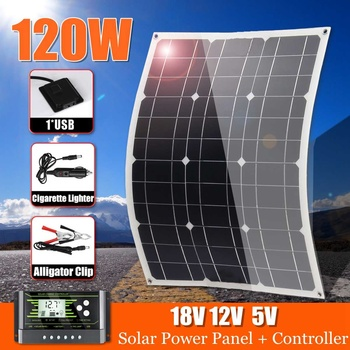 LEORY 120W 18V Mono Solar Panel Dual USB 12V/5V DC With 10/20/30A Solar Controller Flexible Solar Charger For Car RV Boat