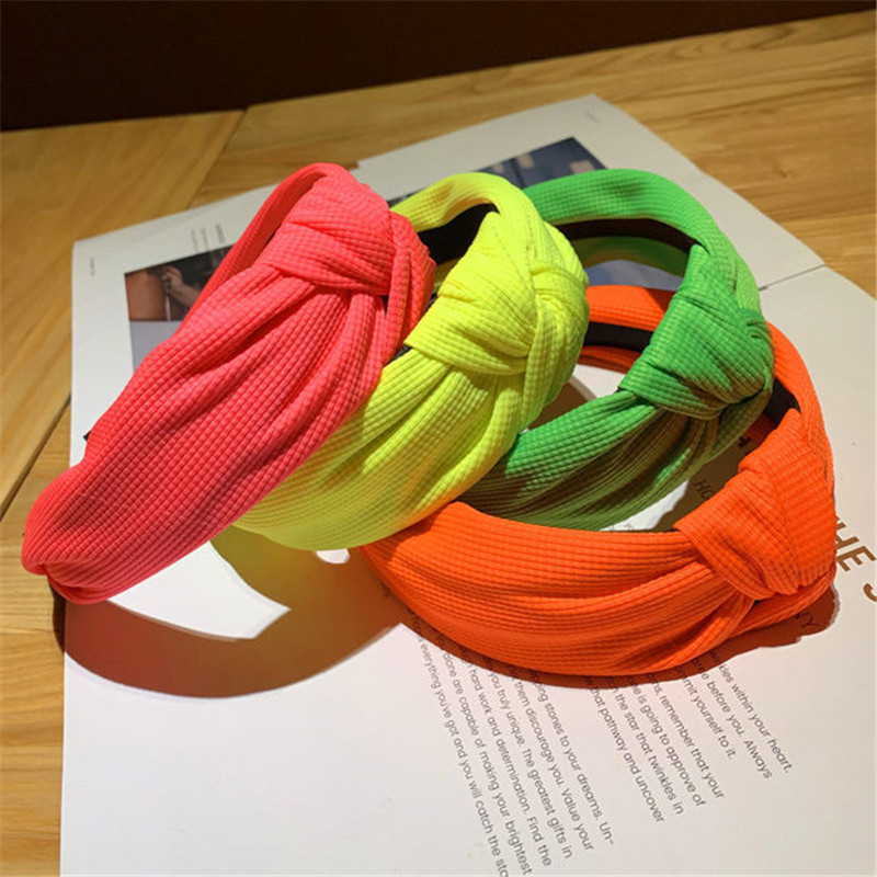 Candy Color Fashion Hairbands Women Bow Middle Knot Headbands Korean Cloth Fabric Headwear Simple Sweet Girls Hair Accessories