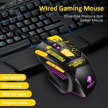 Ratón mecánico para videojuegos, 8 Botones programables, 4800DPI, ratón Battlegrounds, ratón de Gamer para PC y ordenador