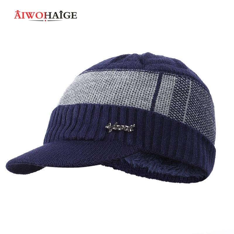 2019 Winter New Cotton Cap Visor Knit Beanie Thicken Hedging Cap Winter Man Caps Unisex Solid Badge Outdoor Skullies Soft Cap