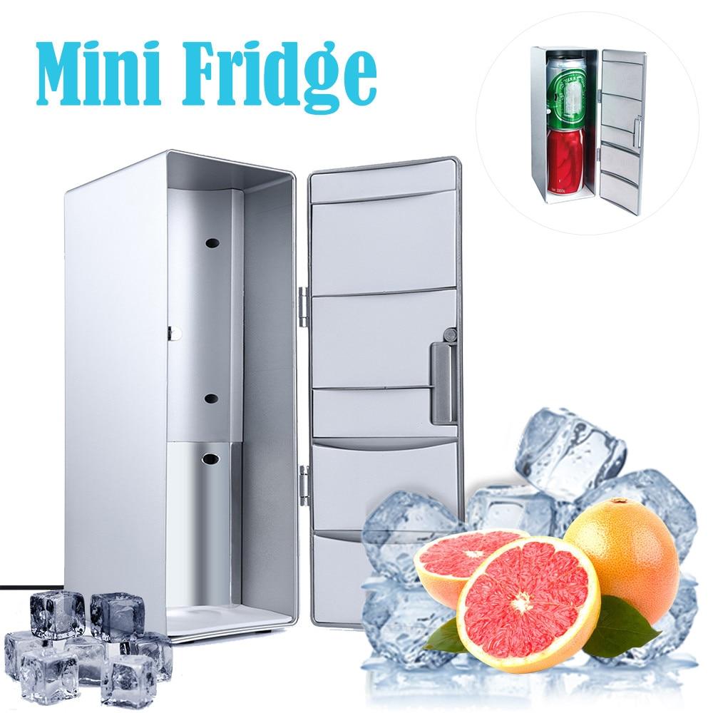 미니 휴대용 USB 데스크탑 냉장고 음료 쿨러 냉장고 냉장고 120x85x250mm 실버 고품질 2020