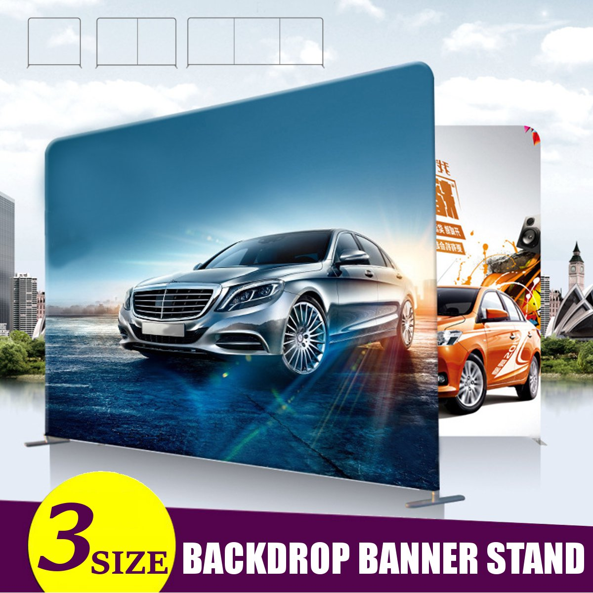 Portable Aluminum Alloy Banner Stand Party Wedding Wall Frame Backdrop Display Holder Folding Presentation Advertising Stands