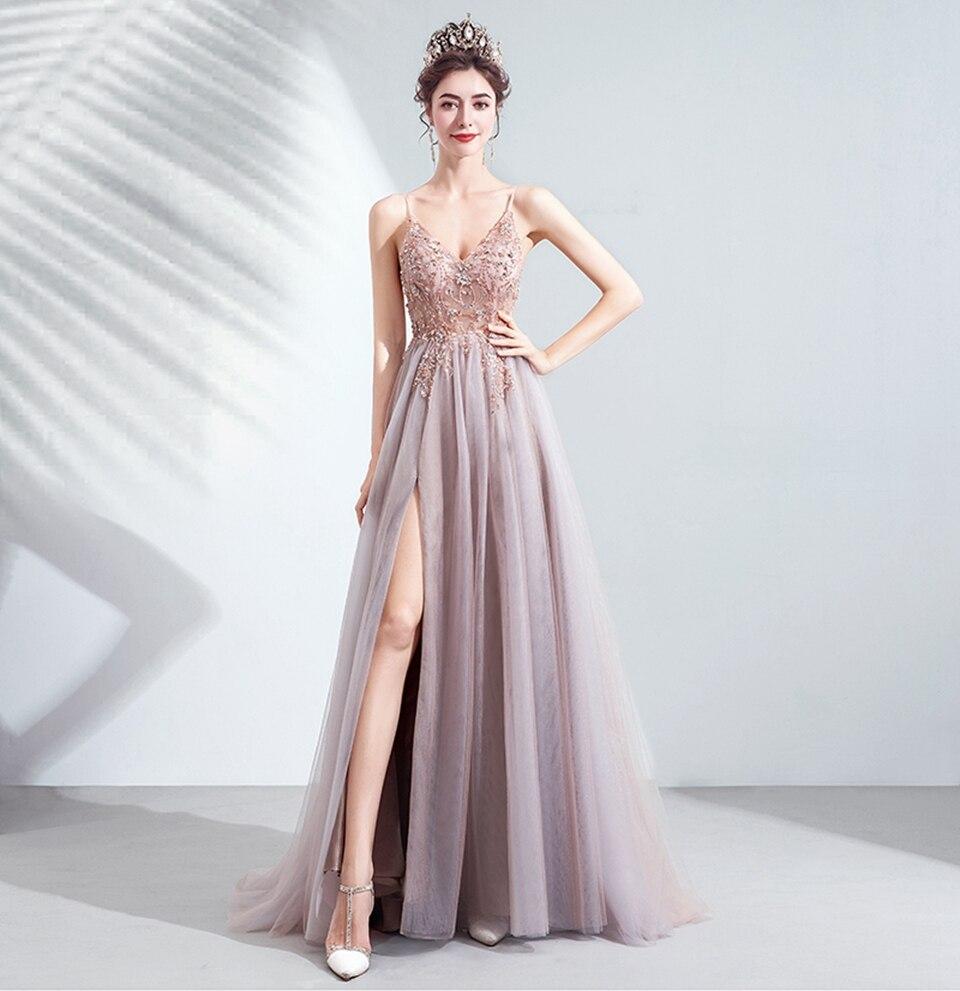 Pink Women High Split Prom Dresses 2020 Elegant Beading Formal Long Evening Gowns Spaghetti Straps Night Party Robe De Soiree