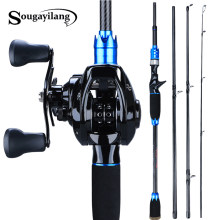 Sougayilang 1.8m 2.1m Lure Fishing Rod and 12+1BB Baitcasting Reel 4 Sections Carbon Rod and Casting Fishing Wheels Set Pesca(China)