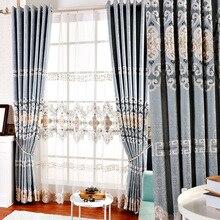 Европейский стиль голубой высокая точность жаккардовые вышивка затенение шторы для гостиной столовая спальня роскошь