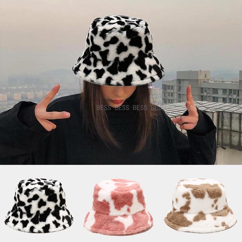 Winter Cow Print Plush Bucket Hats for Women Soft Velvet Fisherman Cap Lady Tourism Outdoor Warm Hat Fashion Flat Top Hats