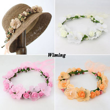 flower Headband wedding decoration rattan Wreath Hair Accessories photo props Bohemia Artificial girls Women Headband цена и фото