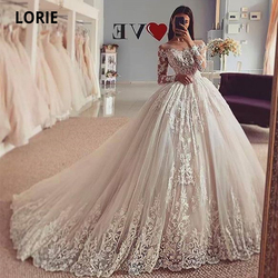 LORIE Long Sleeve Lace Appliques Wedding Dresses Ball Gown Bridal Gowns Plus Size illusion Marriage Princess Party Dress 2020