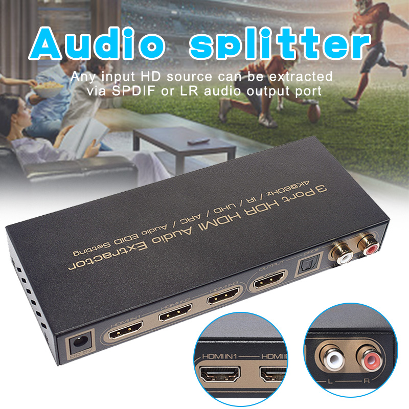 3 Port HDMI Audio Extractor Splitter Support 1080P 3D 4Kx2K For Laptop Mobile Phone