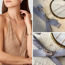 Collar Messica de plata de ley 925, serie francesa de tres movimientos de diamantes, chapado en oro rosa, marca original, joyería fina para mujeres