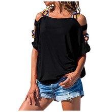 2020 T Shirt Women Cold Shoulder Short Sleeve Hollow Out Tops Loose Harajuku Shirt Femme T-Shirt Women Clothes Blusas