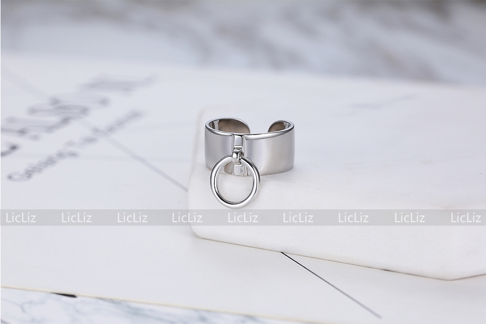 H03d3f7d6579440d69bb6756cf4a732bbn LicLiz 925 Sterling Silver Open Adjustable Cuff Rings for Women Round Circle Ring Jewelry Anillos Plata 925 Para Mujer LR0323