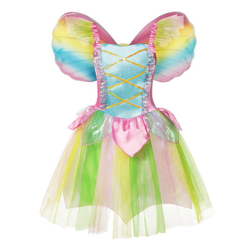 Fairy Tinkerbell Princess Dress Wings for Girl Fancy Dress Up Costume Flower Green Leaf Fairy Elves Cosplay Clohting with Wig