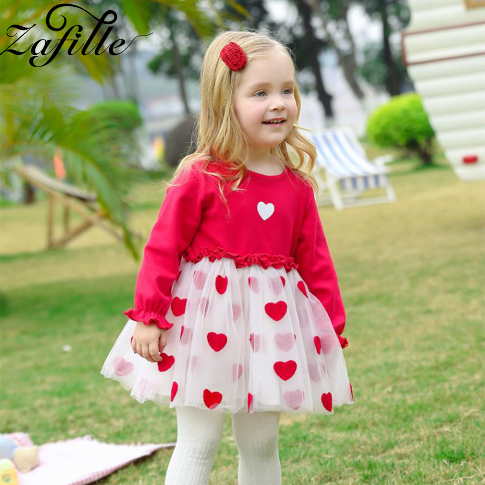 ZAFILLE Baby Dress Patchwork Long Sleeve Girls Clothes Summer Baby Clothes Cute Heart Birthday Party Mesh Dress Toddler Dress