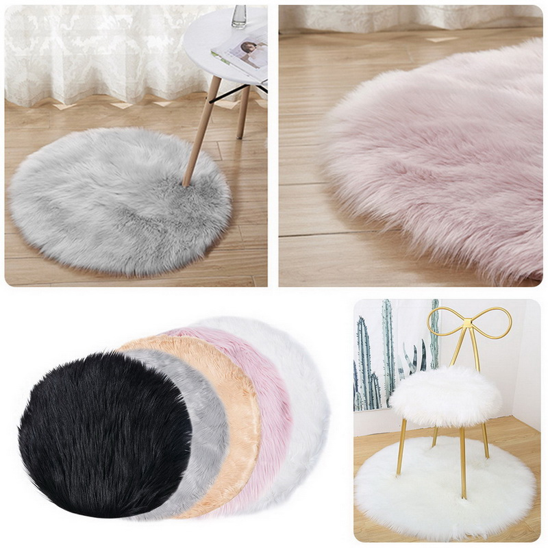 Round Soft Faux Sheepskin Fur Area Rugs For Bedroom Living Room Floor Shaggy Silky Plush Carpet White Faux Fur Rug Bedside Rugs