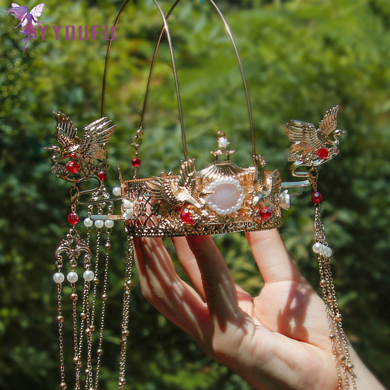 YYOUFU New Headdress Bride Traditional Chinese Headdress Crane Crown Luxury Classical Wedding Tiaras Hair Accessories
