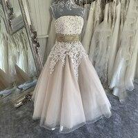 A line Knee Length Champagne Lace Applique Wedding Dress Ruched Waistline Short Bridal Dress traje de novia