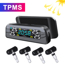 New TPMS Solar Power TPMS Car Tire Pressure Alarm 360 Adjustable Monitor Auto Security System Tyre Pressure Temperature Warning