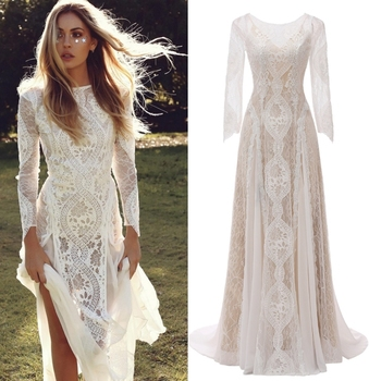 Factory Price 100 % Real Sample Photo Long Sleeve Backless O-Neck Lace Boho Bohemian  Beach Wedding Dress Bridal Gown 1