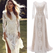 Factory Price 100 % real sample photo Lace boho bohemian  wedding dres