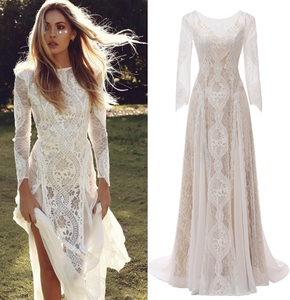 Factory Price 100 % real sample photo Lace boho bohemian wedding dress bridal gown(China)