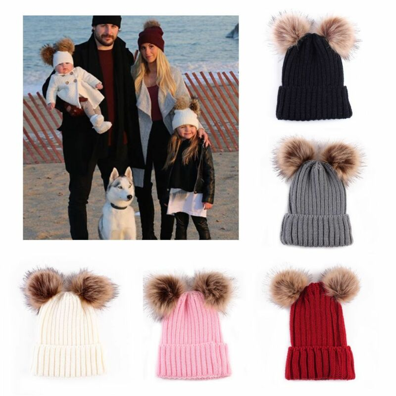 Warm Animal Winter Woman Hat Parent-child Baby Cap Double Ball Beanie B