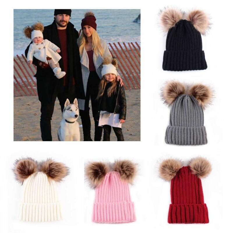 Warm Animal Winter Woman Hat Parent-child Baby Cap Double Ball Beanie B