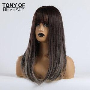 Image 3 - Długie peruki syntetyczne proste z Bangs Ombre ciemnobrązowe do szarych peruk dla kobiet Cosplay peruka z naturalnych włosów włókno termoodporne