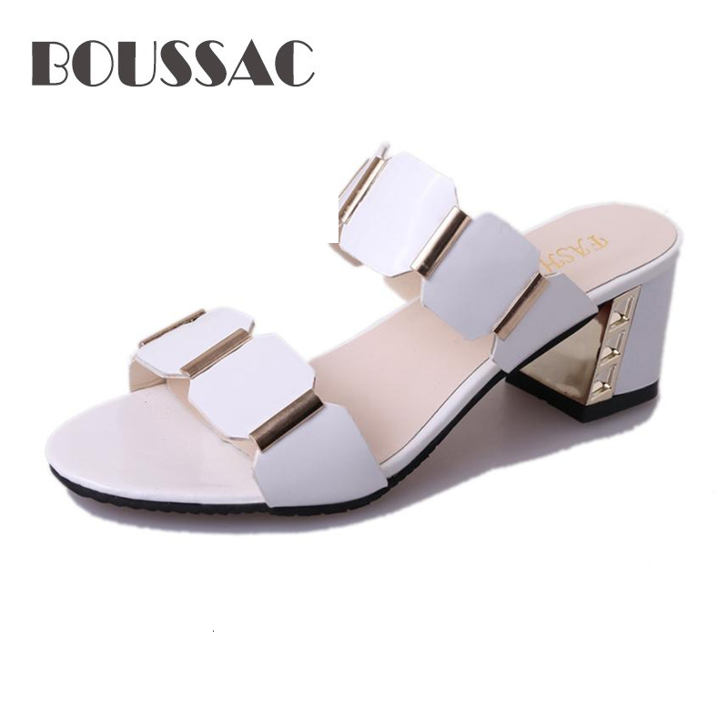 BOUSSAC Women Fish Mouth Slipper High Heels Sandals Antiskid Toes Party Shoes Flip Flops sandals Middle-aged women's shoes