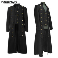 Vintage Gothic Men Coats Steampunk Long Sleeve Plain Uniform Button Frock Trench Longline Outerwear Men Medieval Costume INCERUN
