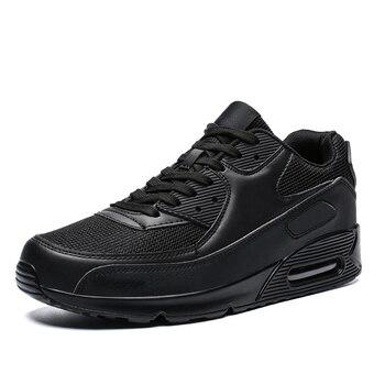 All Season Unisex Fashion Sneakers Men Hip Hop Shoes Spring Men's Air Cushion Mesh Sport Shoes Casual Shoes Men Male Footwear - Black, 12