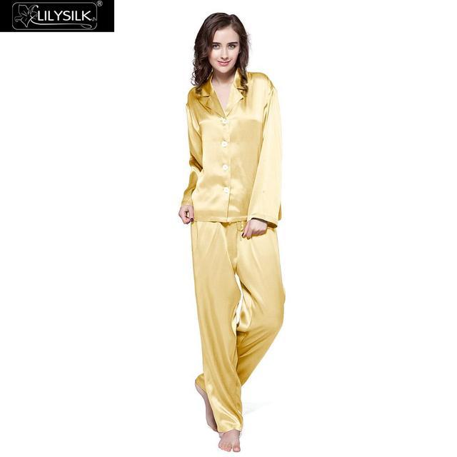 LilySilk 100 Silk Pajama Set Sleep Lounge Pyjamas Natural Skin Care Women 22 Momme Long Sleeve Sleepwear Free Shipping