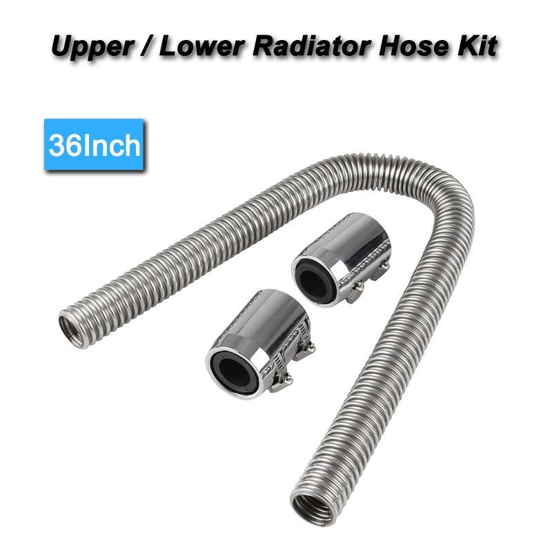 Stainless Steel Radiator Hose Kit 36 inch Hose Universal Chrome Ends