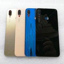 Nowe oryginalne szkło hartowane tylna pokrywa dla Huawei P20 Lite/Nova 3E części zamienne tylna pokrywa baterii obudowa drzwi + struktura na kamerę