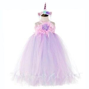 Image 5 - かわいい花の女の子の結婚式ユニコーンベビー服十代ノースリーブ笑ドレスピンクのためのチュールレースちょうチュチュドレスvestido