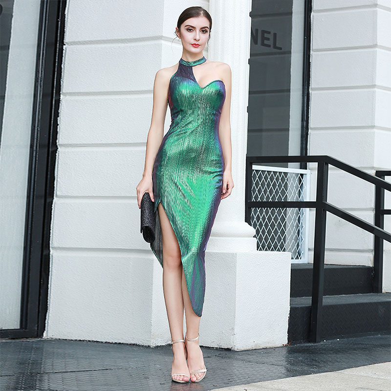 Image 5 - Sexy Street Bandage Dress Ladies Sleeveless Bodycon Night Club 