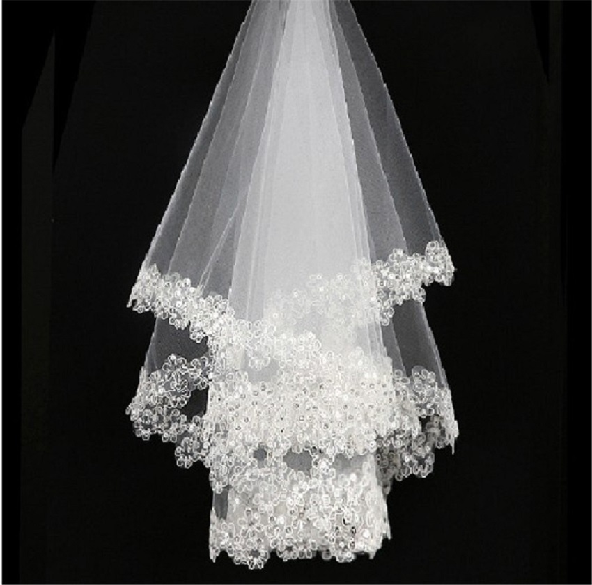 Bride Wedding Accessories One Layer Short Bridal Veils Without Comb Lace Sequins Soft Tulle 1.5m Ivory/White Wedding Veils