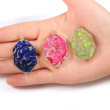 2020 Natural Stone Connectors Colorful Octagon Emperor Stone for Jewelry Making Necklace Accessories Gift for Women 25x45x6mm
