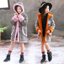 Get more info on the High Quality Fashion Girls Warm Wool Overcoat For Winter Plaid Hooded Coat Parkas Outerwear Plus Velvet Thick Cotton Overcoat
