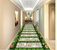 Garden stone path beautiful 3D floor beautiful waterproof wallpaper 3d flooring papel de parede 3d wallpaper цена