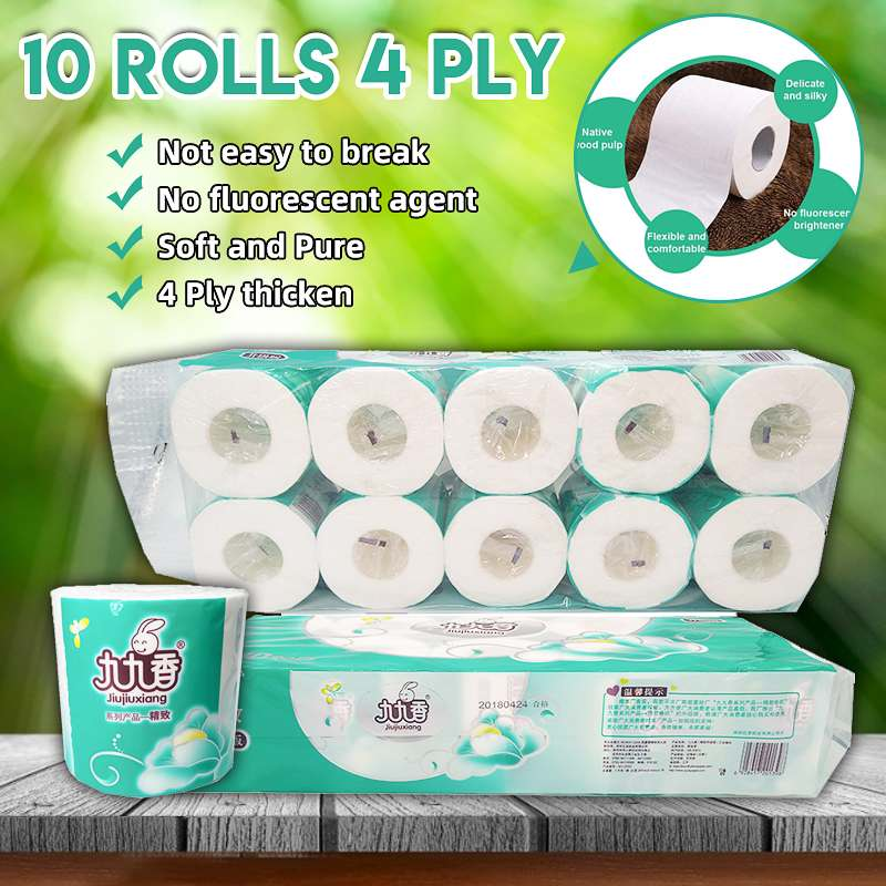 Fast Shipping 10rolls Soft Toilet Paper Roll Tissue 4-layer Household Rollss Paper Silky Care  Home Bathroom Kitchen Accessories