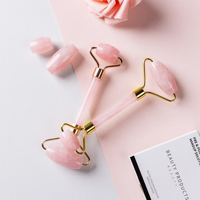 Pedra de jade rolos massageador para rosto rosa rosa quartzo natural pedra emagrecimento queixo levantar facial beleza rolo cuidados com a pele 3