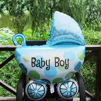 1pcs Mini Car Stroller Aluminum Balloons Foil Balloons Cute Baby Birthday Party Decoration Balloon image