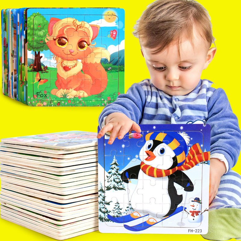 Image 2 - Hot Sale 20 Slice Wooden Puzzle Toy Children's Baby Educational Learning Toys for Kids Cartoon Animals/ Vehicle Jigsaw FH G020-in Puzzles from Toys & Hobbies