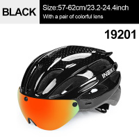 Black 1 Colorful-INBIKE Cycling Helmet with Goggles Ultralight MTB Bike Helmet Men Women Mountain Road casco Sport Specialiced Bicycle Helmets