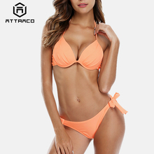 цена на Attraco Women Bikini Set Halter Swimwear Solid Color Swimsuit Side Bandage Bathing Suit triangle Beachwear Push Up Sexy Bikini