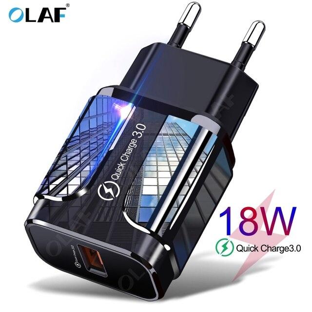 18W Ricarica Rapida 3.0 del Caricatore del USB di CONTROLLO di QUALITÀ 3.0 4.0 Connettore USB Del Telefono/Veloce Adattatore del Caricatore Per Samsung A50 iPhone Xr 11 8 7 Xiaomi Huawei 1